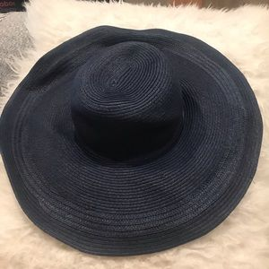 Topshop Navy Blue Braided Wide-Brim Sun Hat